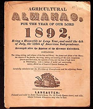 Agricultural Almanac for the Year of Our Lord 1892