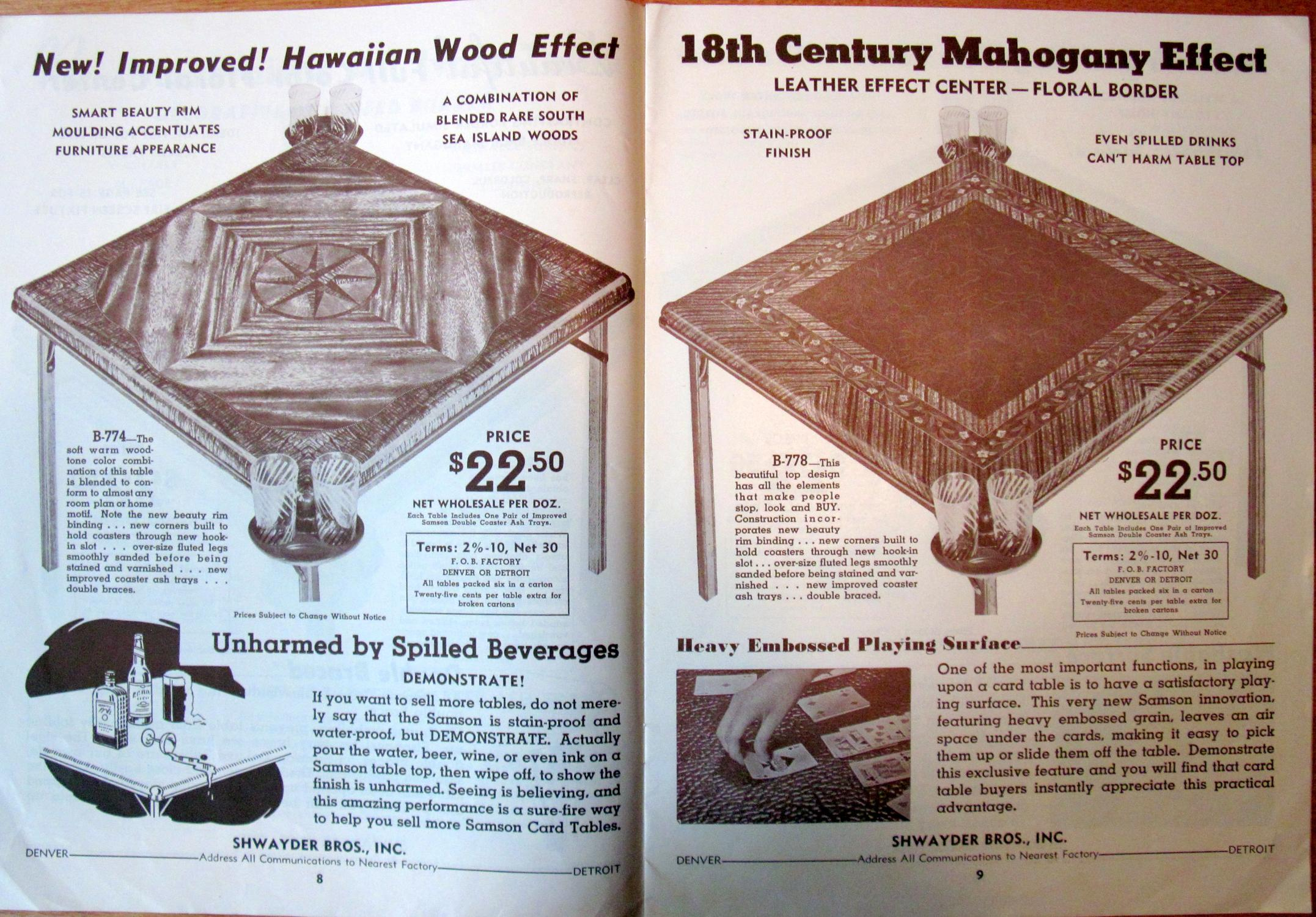"Samson Card Tables Chairs and Sets Holiday Catalog ""B"