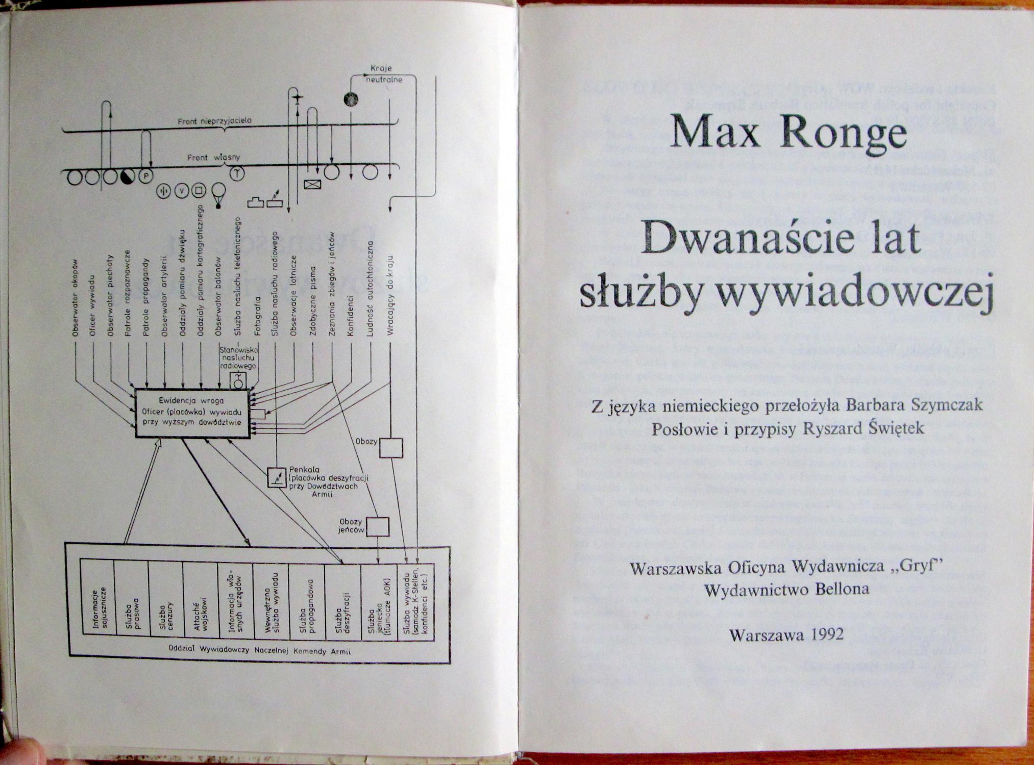 Znalezione obrazy dla zapytania max ronge dwanaście lat służby wywiadowczej