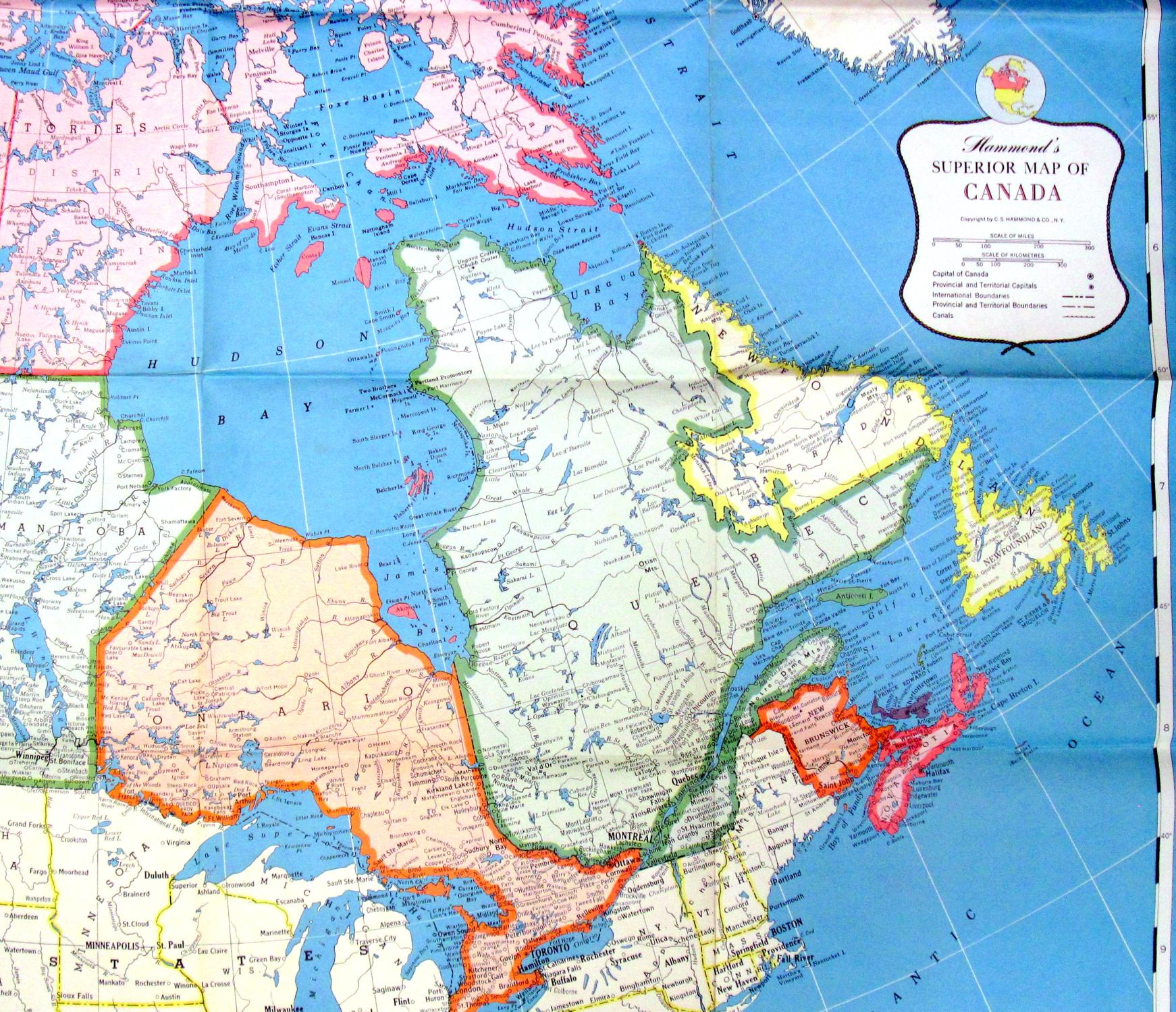 Hammonds superior map of canada by large fold out wall map hammond hammonds superior map of canada large fold out wall gumiabroncs Choice Image