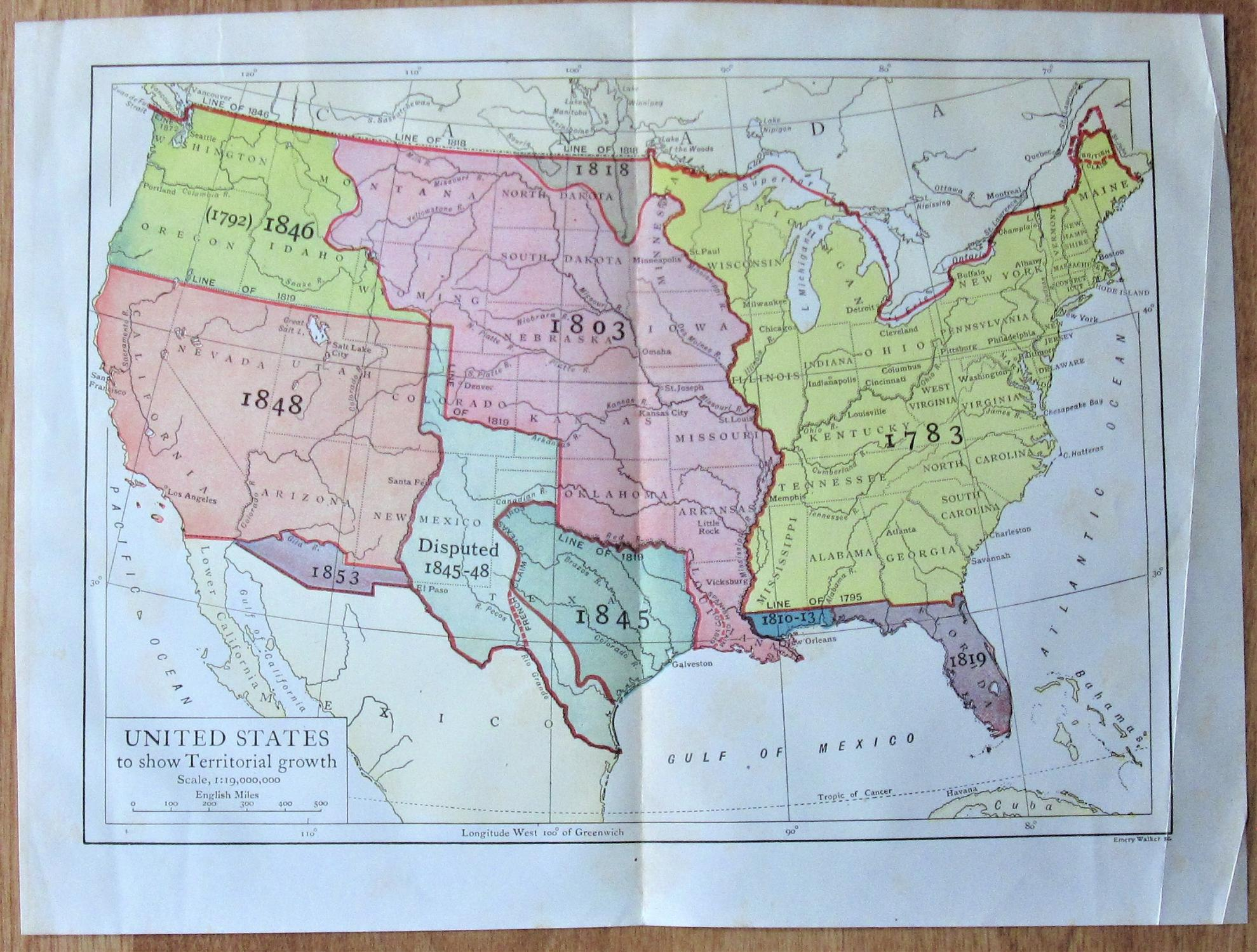 Antique Map: United States to Show ...