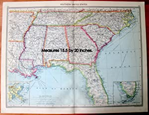 Antique Map - Southern United States.