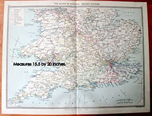 Antique Map - The South of England Railway Systems.