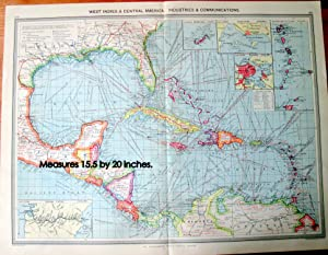 Antique Map - West Indies and Central American: Industries and Communications.