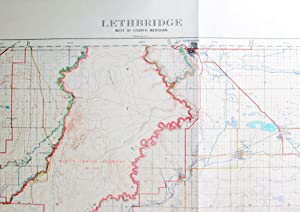 Fold-Out Topographical Survey Map in Colour. Map No. 15 Lethbridge West of Fourth Meridian