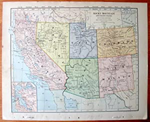 Antique Map. Rocky Mountain and Pacific States - Southern Section.