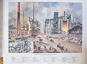 Antique Lithograph: Steel Plant Mill Scene: H.Kraemer