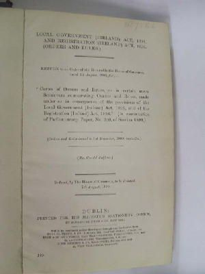 Local Government (Ireland) Act, 1898, and Registration