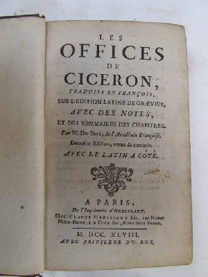 Les Offices de Ciceron: M. du Bois