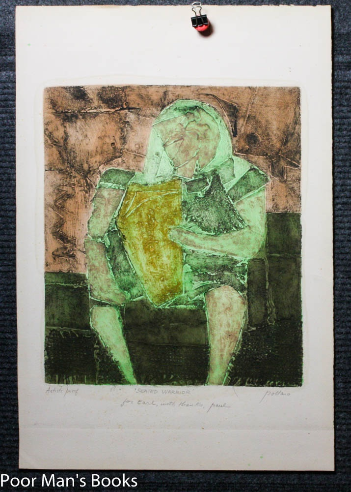 """""""""""SEATED WARRIOR."""""""" ABSTRACT COLOR PRINT. PROOF, SIGNED Pollaro, Paul [1921-]"""