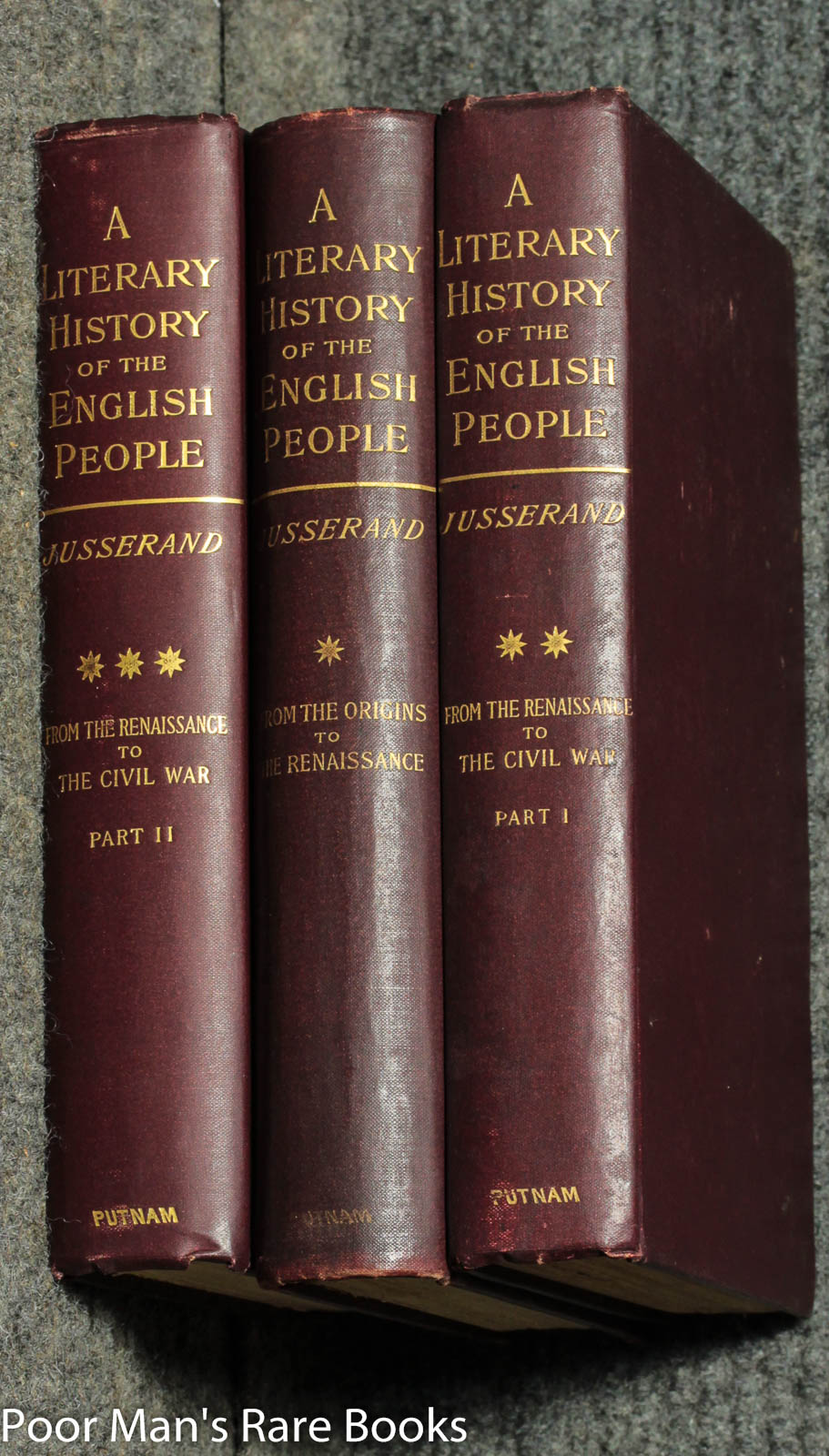A Literary History Of The English People From The Origins To The Renaissance.civil War [complete In 3 Volumes] Jean Jules Jusserand Hardcover