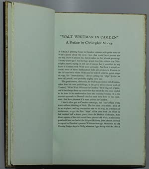 WALT WHITMAN IN CAMDEN, A SELECTION OF PROSE FROM SPECIMEN DAYS WITH A PREFACE BY CHRISTOPHER ...