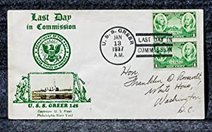 USS GREER 145 [MOUNTED PHOTO] NAVAL CACHET ADDRESSED TO FRANKLIN D ROOSEVELT FROM HIS STAMP ...