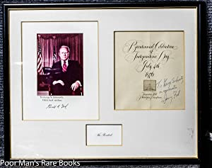 PRESIDENT GERALD FORD PROGRAM SIGNED AND INSCRIBED ALONG WITH PHOTO IN HANDSOME FRAME: Ford, Gerald...