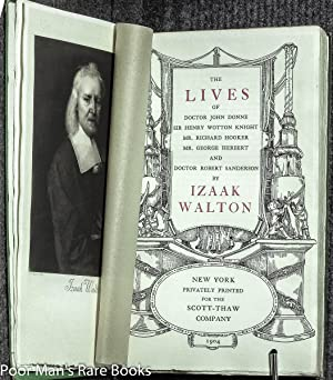 THE LIVES OF DOCTOR JOHN DONNE SIR: Walton, Izaak