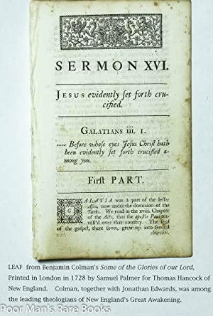 Leaf From Some Of The Glories Of Our Lord And Saviour Jesus Christ 1728 Sermon XVI: Benjamin Colman...