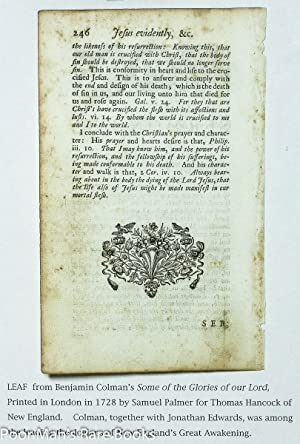 Leaf From Some Of The Glories Of Our Lord And Saviour Jesus Christ 1728 Sermon P245-6: Benjamin ...