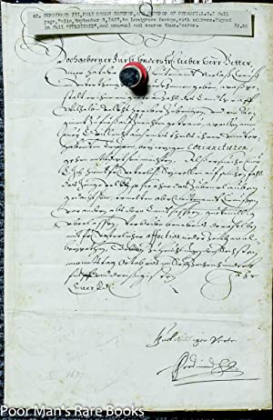 Ferdinand Iii, Holy Roman Emperor. Document Signed. 5 September, 1627.1 Piece. Folio, Docketed.: ...