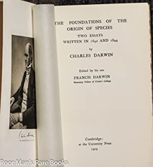 The Foundations Of The Origin Of Species.: Darwin, Charles.