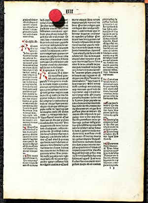 De Civitate Dei [single Leaf 1494 With Colored Initials- Incunable, Incunabulum] [LBC]: Augustine ...