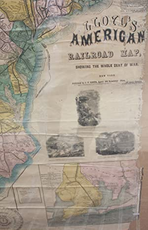 Large 1861 Civil War Railroad Map Of The Seat Of War; Lloyd's American Railroad Map Showing The...