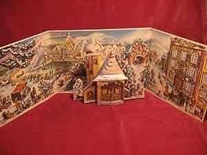 Adventskalender: Winterliche Stadt mit Kirche.