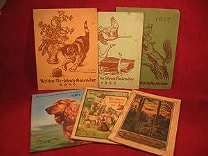 Tierschutzkalender. Konvolut von 6 Tierschutzkalendern auf die Jahre 1911, 14, 37, 40, 41 und 61.