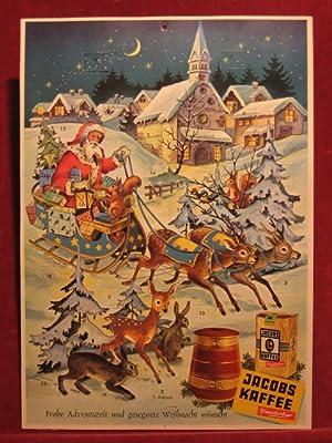 """Adventskalender """"Weihnachtsmann kommt mit dem Schlitten"""" mit Werbung für """"..."""