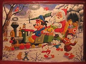 """Adventskalender """" Micky Maus mit Weihnachtsmann in der Eisenbahn """".: Disney, Walt:"""
