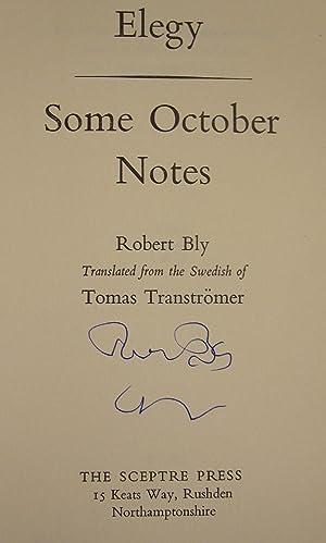 Elegy; Some October Notes: TRANSTROMER, TOMAS