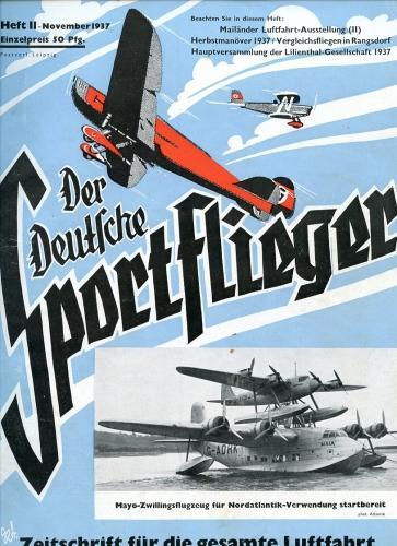 Der Deutsche Sportflieger 1937 Heft 11 November,: Seyboth, Karl (Ing.,