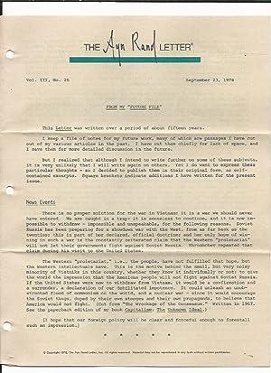 The Ayn Rand Letter Vol. III, No. 1 through Vol. III, No. 26: Rand, Ayn