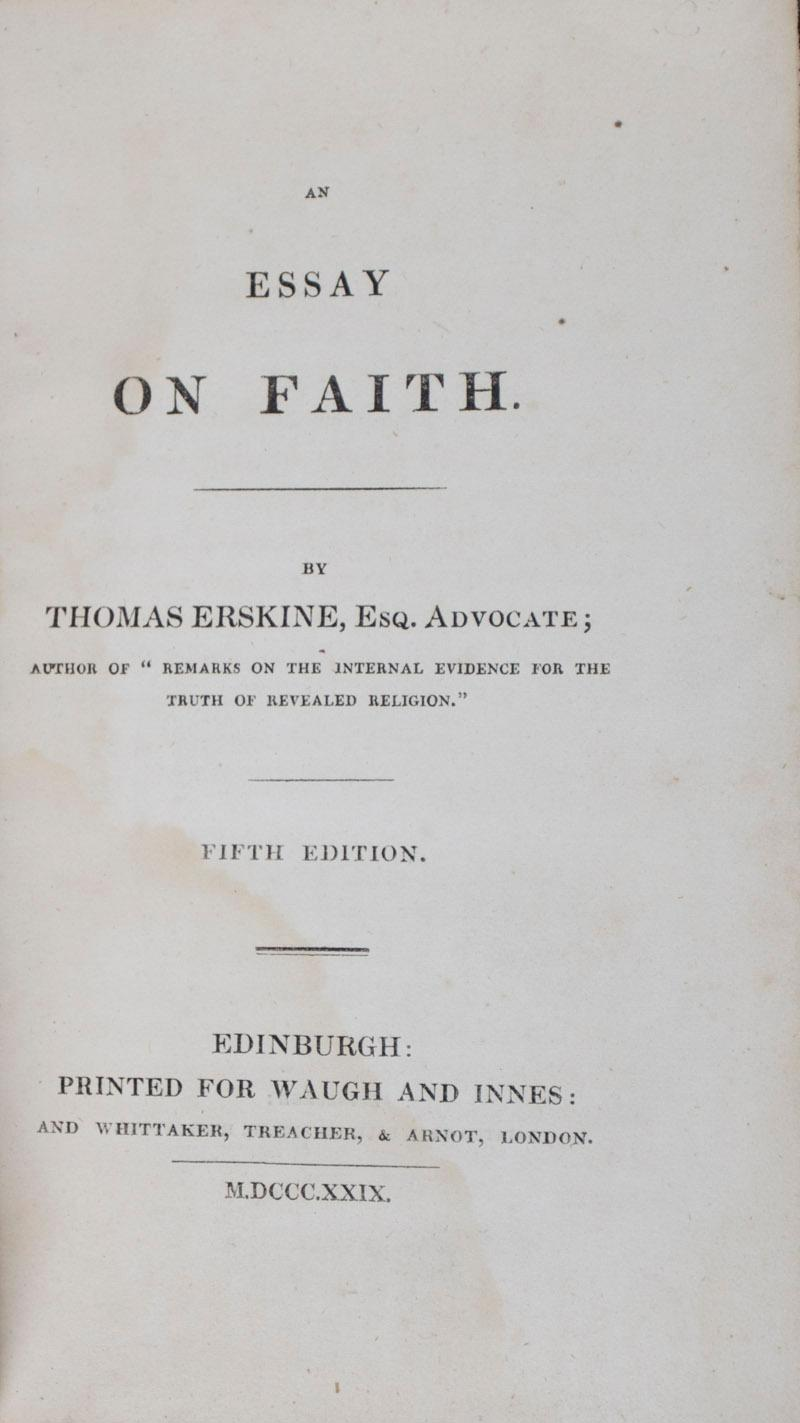 An Essay On Faith Signed  Inscribed By Emily Tennyson By Erskine  An Essay On Faith Signed  Inscribed By Emily Tennyson Erskine