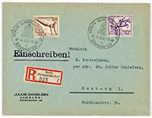 Nazi Germany 1936 Summer Olympics: Lot of 4 stamped envelopes: Eschle, Max (designed by)