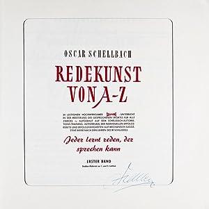 Redekunst von A-Z (The Art of Public Speaking) [SIGNED BY AUTHOR]: Schellbach, Oscar