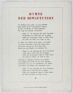 Hymne der Sowjet Union (Hymn of the Soviet Union): Michalkow, S.; El-Registan (Text by); A. ...