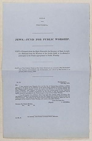 Jews. - Fund for Public Worship [Parliamentary paper, Victoria Parliament, 1855-6]: n/a