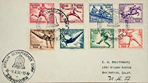 Original envelope with eight illustrated 1936 Olympic post stamps and three Olympic Village ...