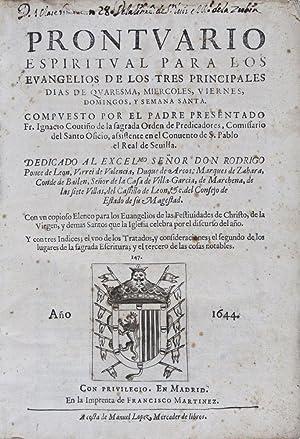 Prontuario espiritual para los Evangelios de los tres principales dias de quaresma, miercoles, ...