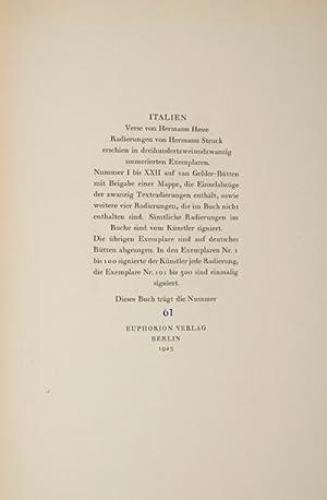 Italien: Verse von Hermann Hesse, XX Radierungen von Hermann Struck [SIGNED]: Hesse, Hermann; ...