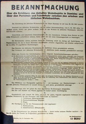 Bekanntmachung über die Errichtung des jüdischen Wohnbezirks in Stanislau und über ...