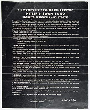 Last Will and Testament of Adolph Hitler Alias Adolph Schickelgruber: n/a