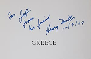 Greece [INSCRIBED & SIGNED]: Miller, Henry (Text by); Anne Poor (Illustrated by)