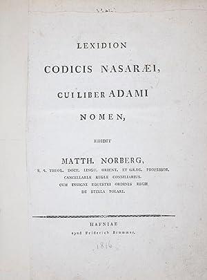 Lexidion Codicis Nasaraei, cui liber Adami Nomen: Norberg, Matthias