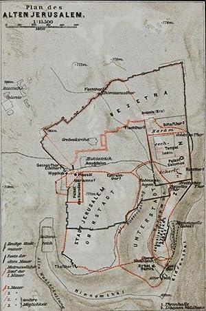 Geographie des Alten Palästina mit Plan von Jerusalem und Karte von Palästina: Buhl, D.F.