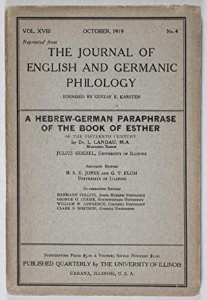 The Journal of English and Germanic Philology: A Hebrew-German Paraphrase of the Book of Esther: ...