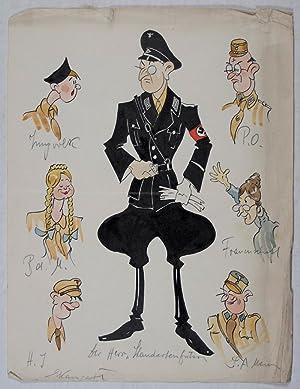 Original Third Reich-era artwork caricaturing various Nazi organizations: Hohenester, Albert (...