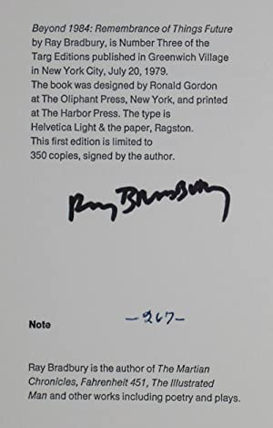 Beyond 1984: Remembrance of Things Future [SIGNED]: Bradbury, Ray (Text by); V. Tony Hauser (Cover ...