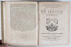 Dissertationes Philologico-Theologicæ: I. De Linguæ Hebrææ Origine, Antiquitate, & Sanctitate: ...