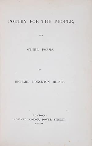 Poetry for the People: Milnes, Richard Monckton